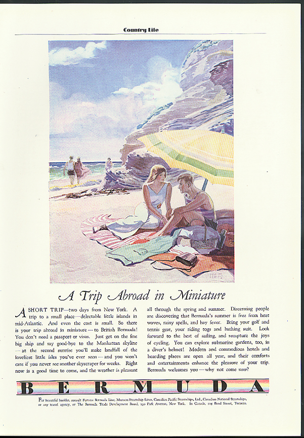 Image for A Trip Abroad in Miniature Bermuda Trade Development Tourism ad 1931