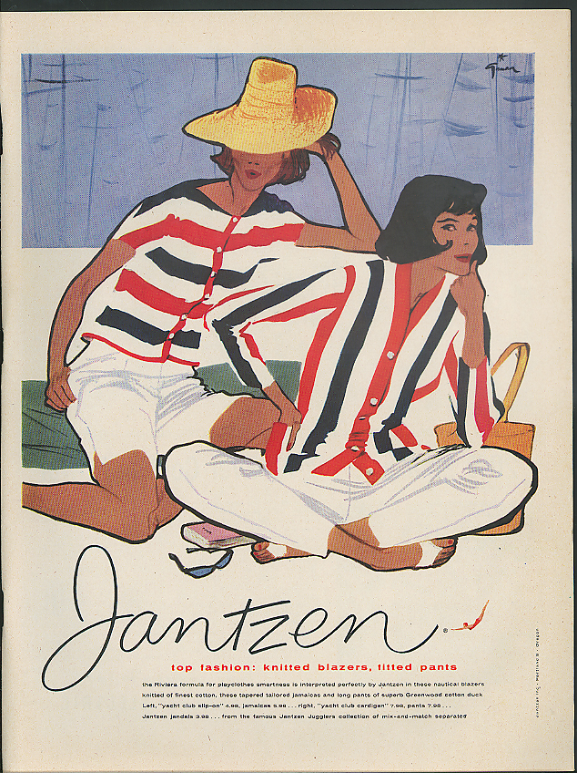 Image for Top fashion: knitted blazers, fitted pants Jantzen Sportswear ad 1958