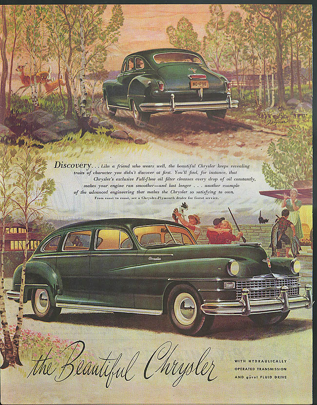 Image for Discovery - like a friend who wears well Chrysler 4-door Sedan ad 1947