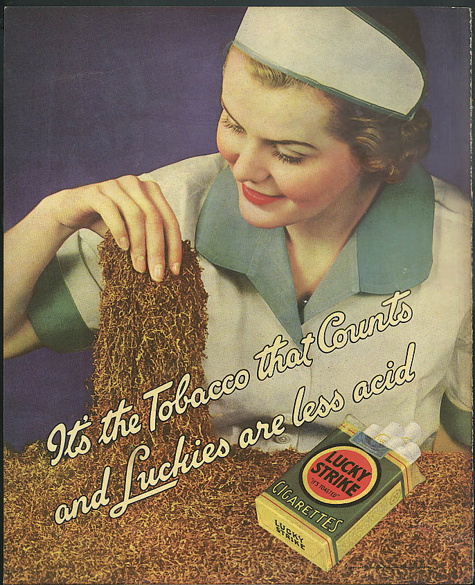 Image for It's the Tobacco that Counts and Luckies are less acid Lucky Strike ad 1936