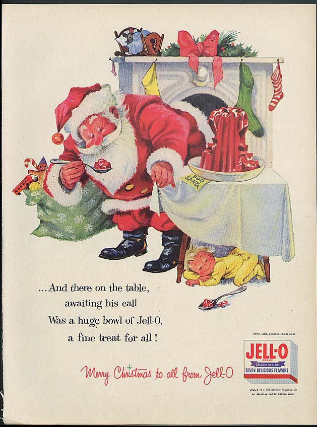 Image for And there on the table awaiting his call Santa Claus for Jell-O ad 1955