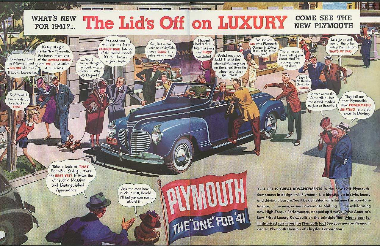 Image for Lid's off Plymouth Convertible / Caterpillar Tractor Pan Am Clipper ad 1941