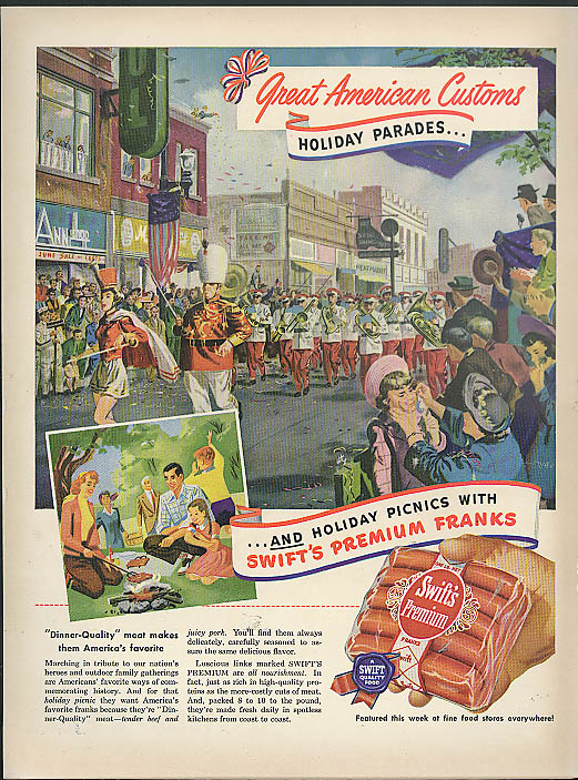 Image for Great American Customs Holiday Parades Swift's Premium Franks ad 1950 hot dog