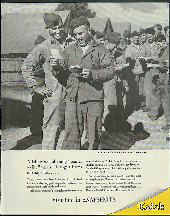 Image for A fellow's mail comes to life Kodak Snapshots to GIs in service ad 1944