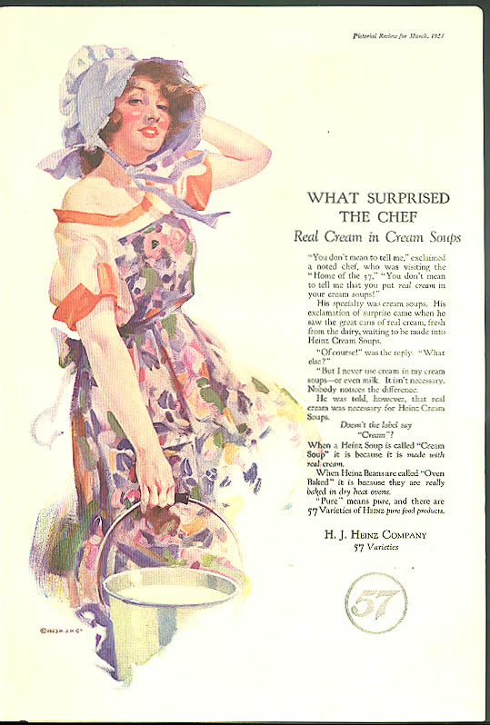 Image for What surprised the chef - real cream in Heinz Cream Soups ad 1923 girl bonnet