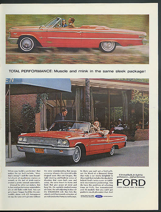 Image for Muscle & mink in the same sleek package! Ford Galaxie XL Convertible ad 1963