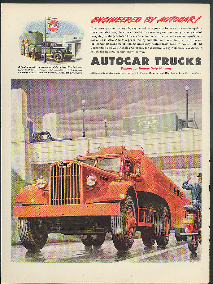 Image for Engineered by Autocar! Gulf Semi-Trailer Tank Truck ad 1945
