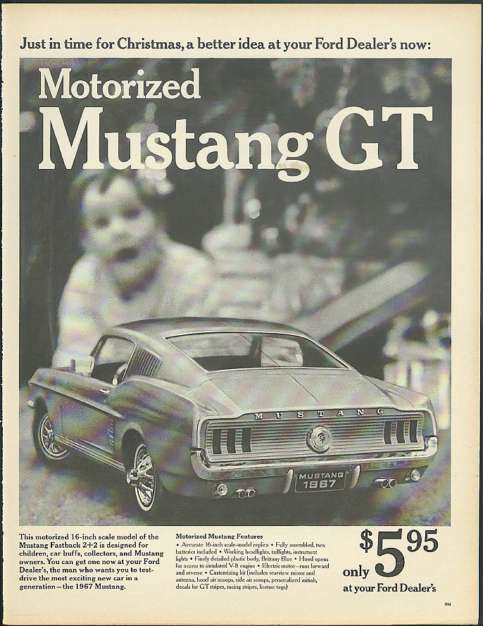 Image for Just in time for Christmas Motorized Mustang GT only $5.95 ad 1967