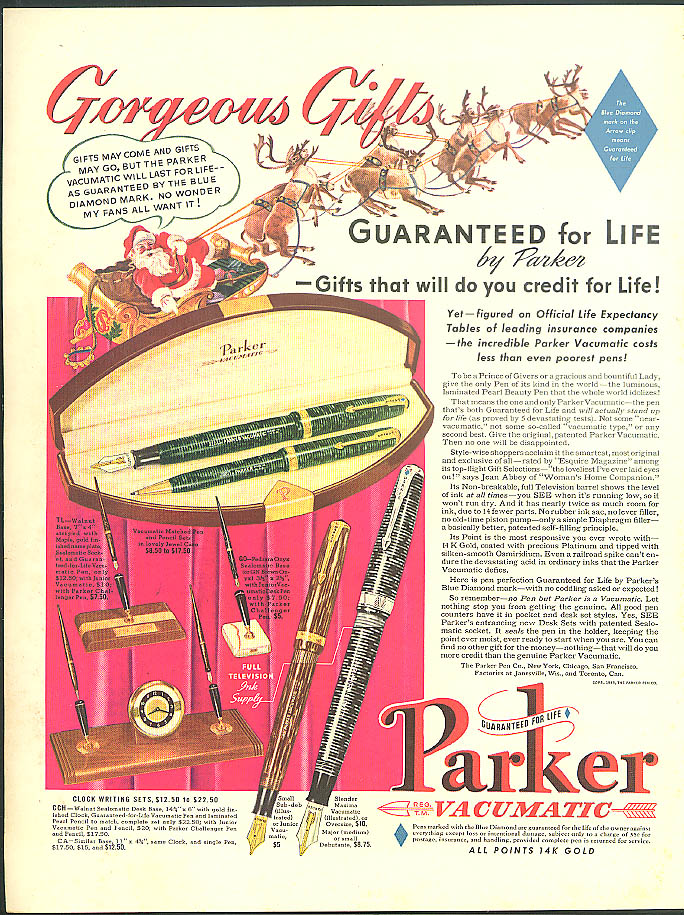 Image for Gorgeous Christmas Gifts Guaranteed for Life Parker Vacumatic Pens ad 1939