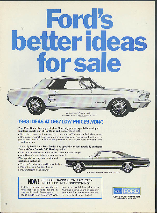 Image for Ford's better ideas for sale Mustang Sport Sprint Galaxie 500 ad 1967