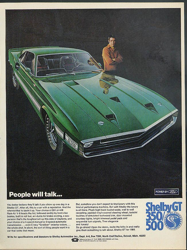 Image for People will talk . . . Shelby GT 350 500 Mustang ad 1969