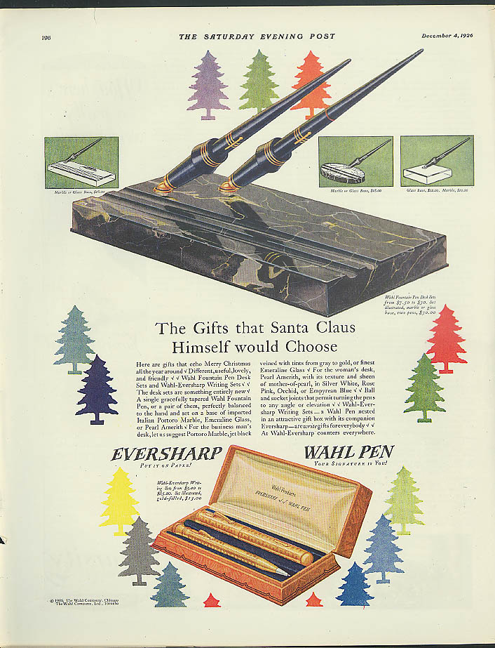 Image for Gifts that Santa Claus Himself Would Choose Eversharp Wahl Fountain Pen ad 1926