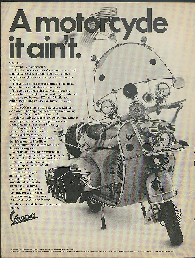 Image for A motorcycle it ain't. Vespa Motorscooter ad 1965