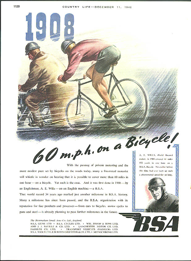 Image for 1908 - 60 mph on a Bicycle! BSA Motorcycle ad 1942