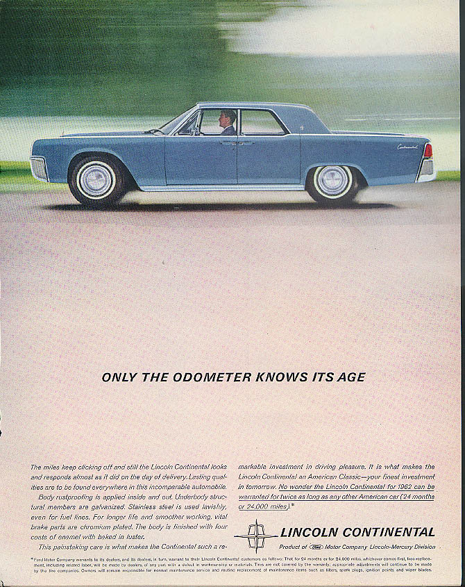 Image for Only the odometer knows its age Lincoln Continental 4-door ad 1962 Fortune