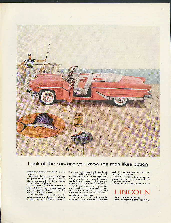 Image for Look at the car, you know the man likes action Lincoln Capri Convertible ad 1955