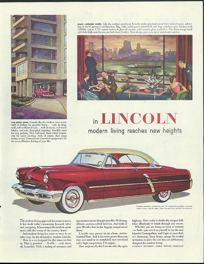 Image for Modern living reaches new heights Lincoln Capri Coupe ad 1952 SEP