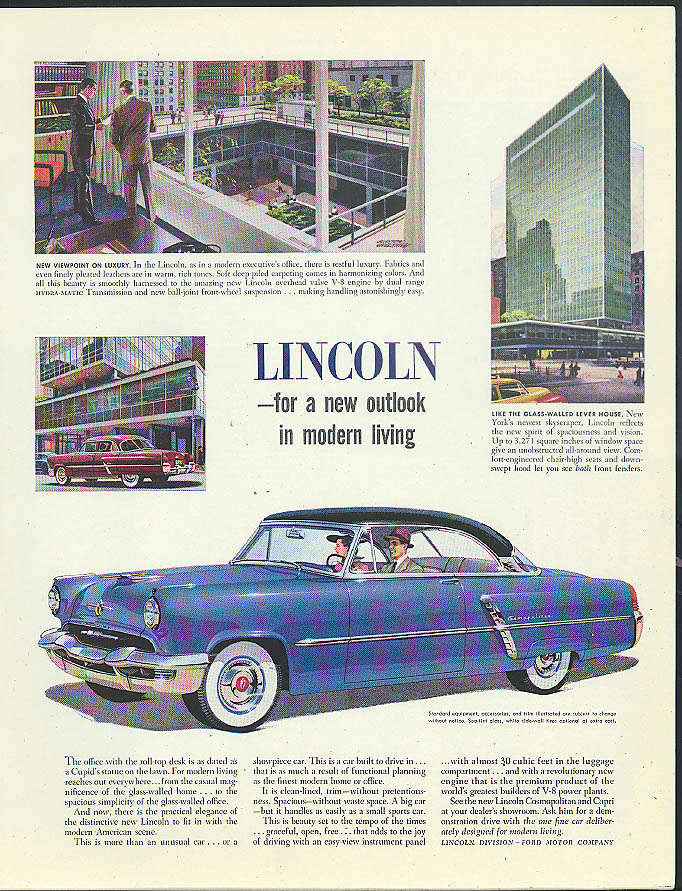 Image for For a new outlook in modern living Lincoln Cosmopolitan Coupe ad 1952
