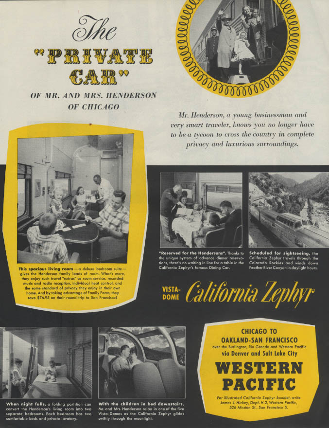 Image for The Private Car Western Pacific California Zephyr Vista-Dome ad 1956
