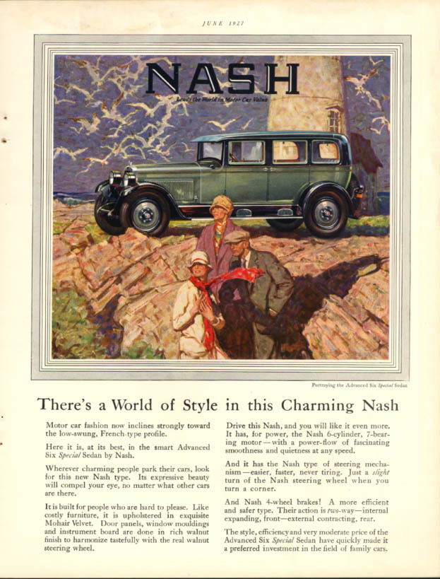 Image for A World of Style in this Charming Nash Advanced Six Special Sedan ad 1927