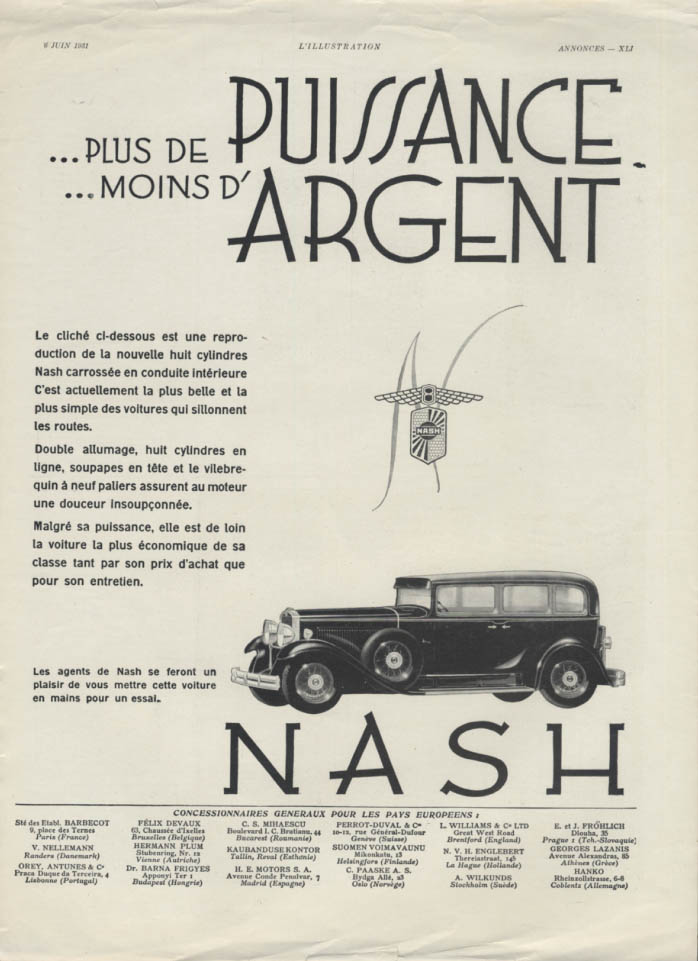 Image for Plus de Puissance moins d'Argent Nash Eight ad in French 1931