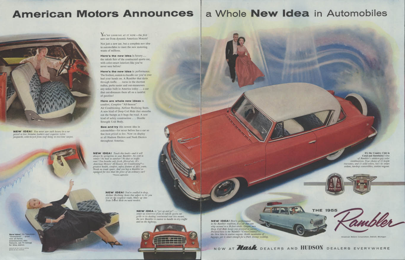 Image for American Motors Announces a Whole New Idea - Nash & Hudson Rambler ad 1955