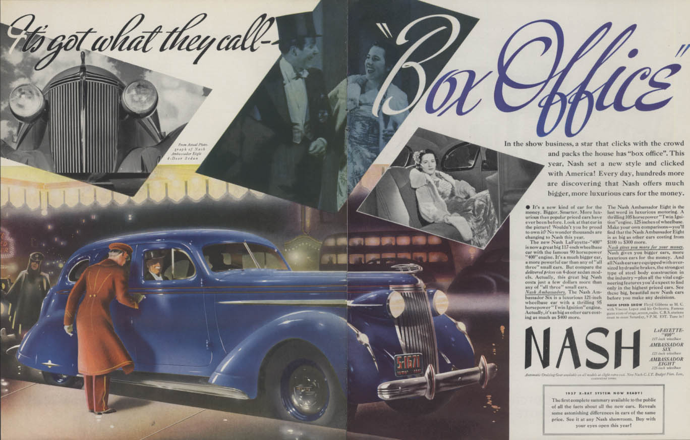 Image for It's got what they call Box Office! Nash Ambassador Eight ad 1937