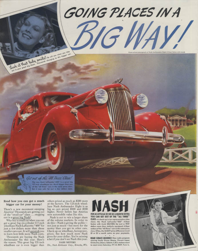 Image for Going places in a Big Way! Nash Ambassador Eight Sedan ad 1937