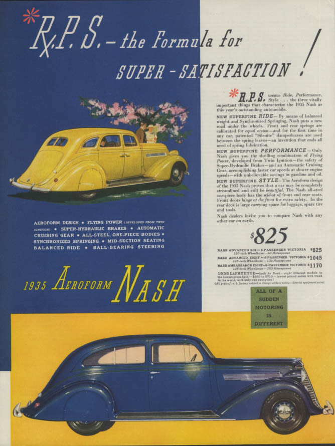 Image for R P S The Formula for Super-Satisfaction! Aeroform Nash ad 1935