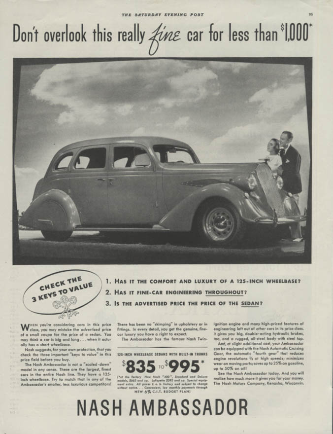Image for Dont overlook this really fine car for less than $1000 Nash Ambassador ad 1936