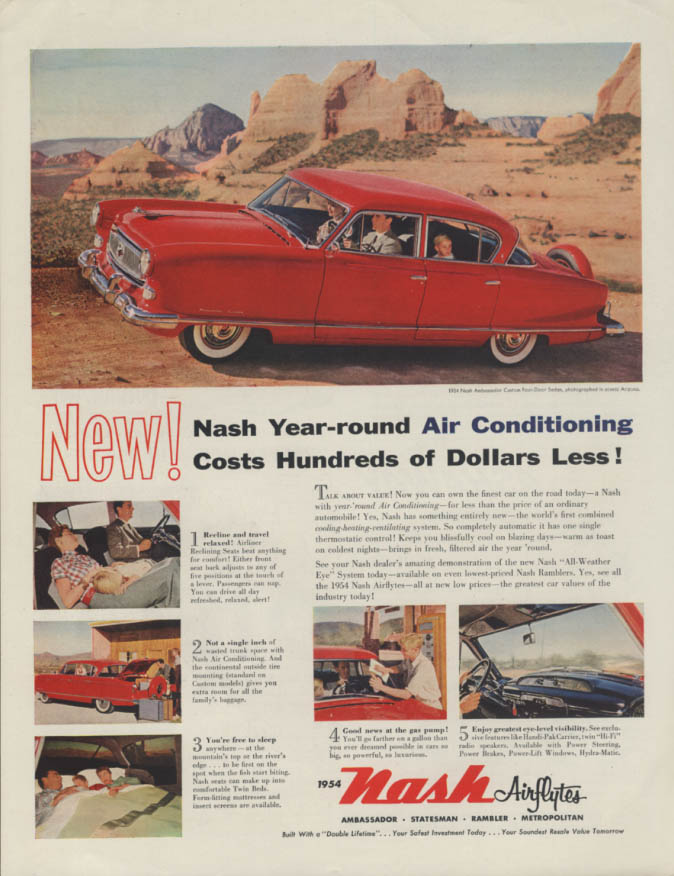 Image for New! Year-round Air Conditioning for Hundreds Less! Nash Ambassador ad 1954