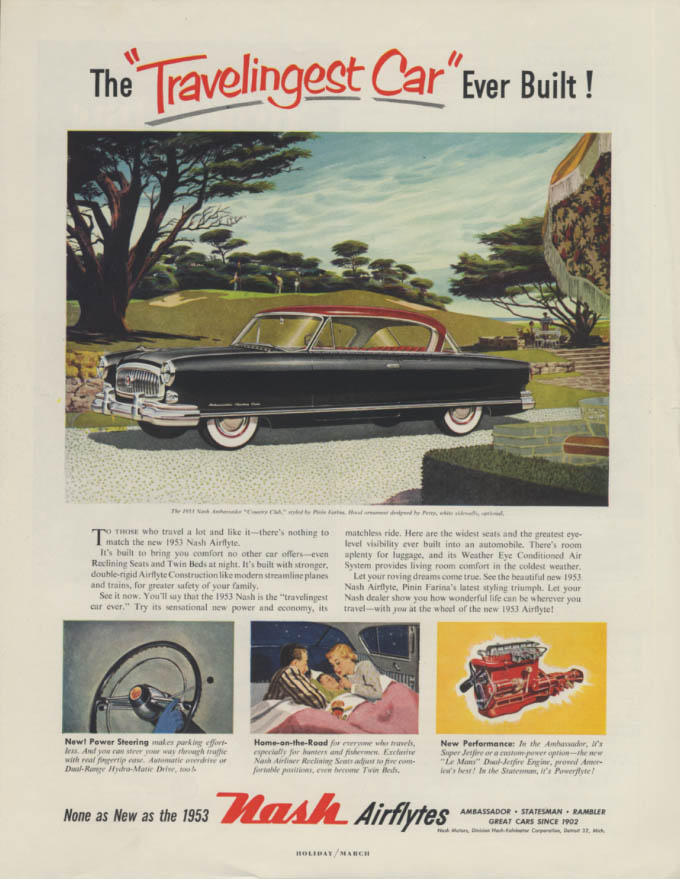 Image for The Travelingest Car Ever Built! Nash Ambassador Country Club ad 1953