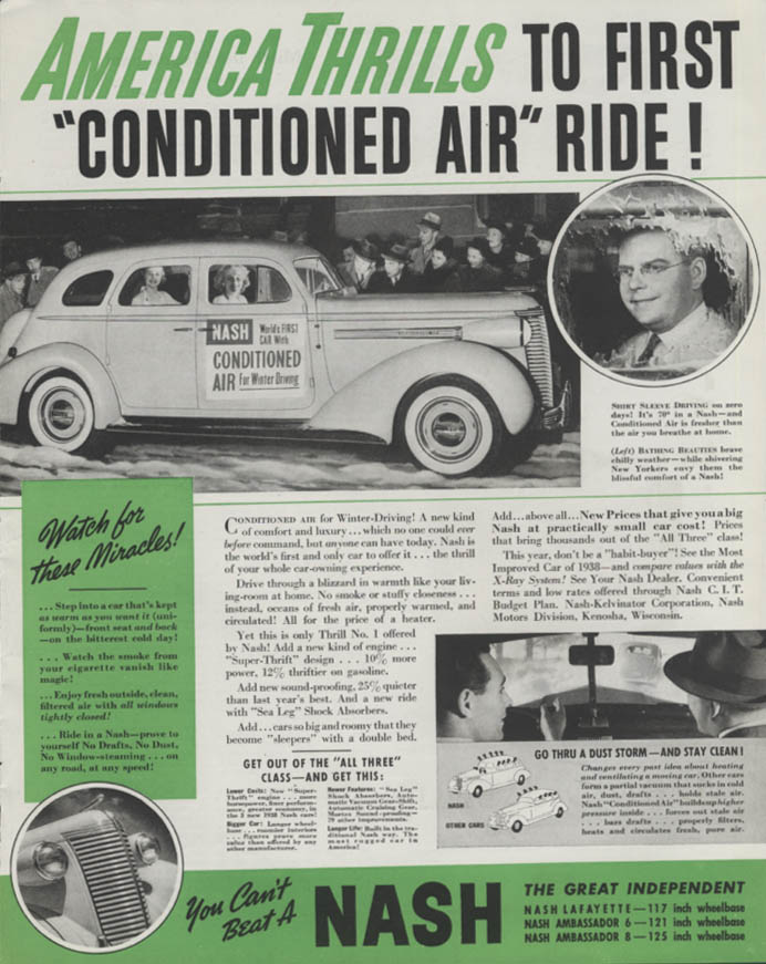 Image for America Thrills to first Conditioned Air Ride! Nash ad 1938