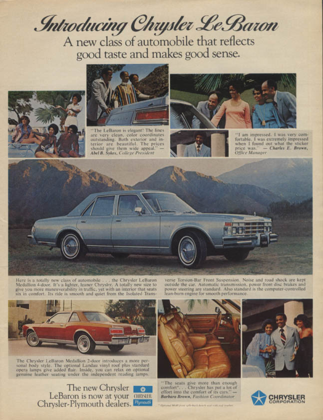 Image for Introducing Chrysler LEBaron a new class of automobile ad 1977 black models