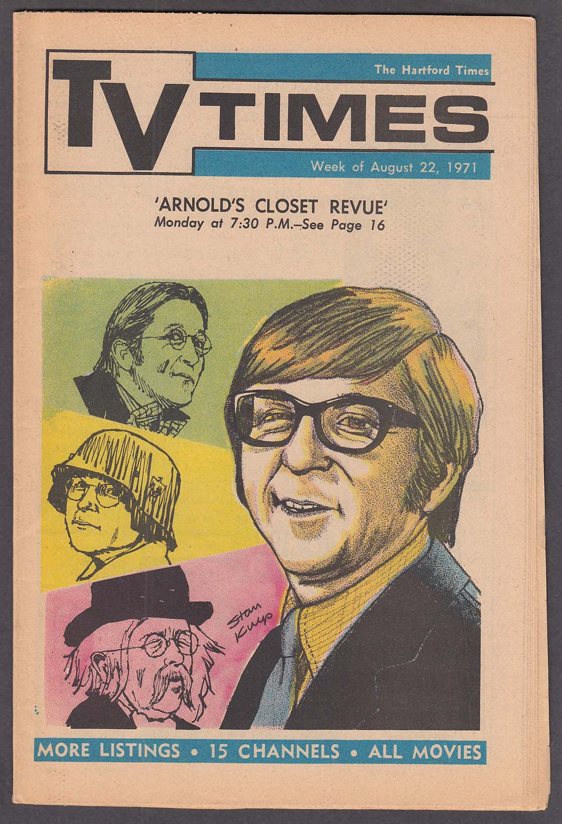 Image for TV TIMES Arte Johnson in Arnold's Closet Revue Hartford Times 8/22 1971
