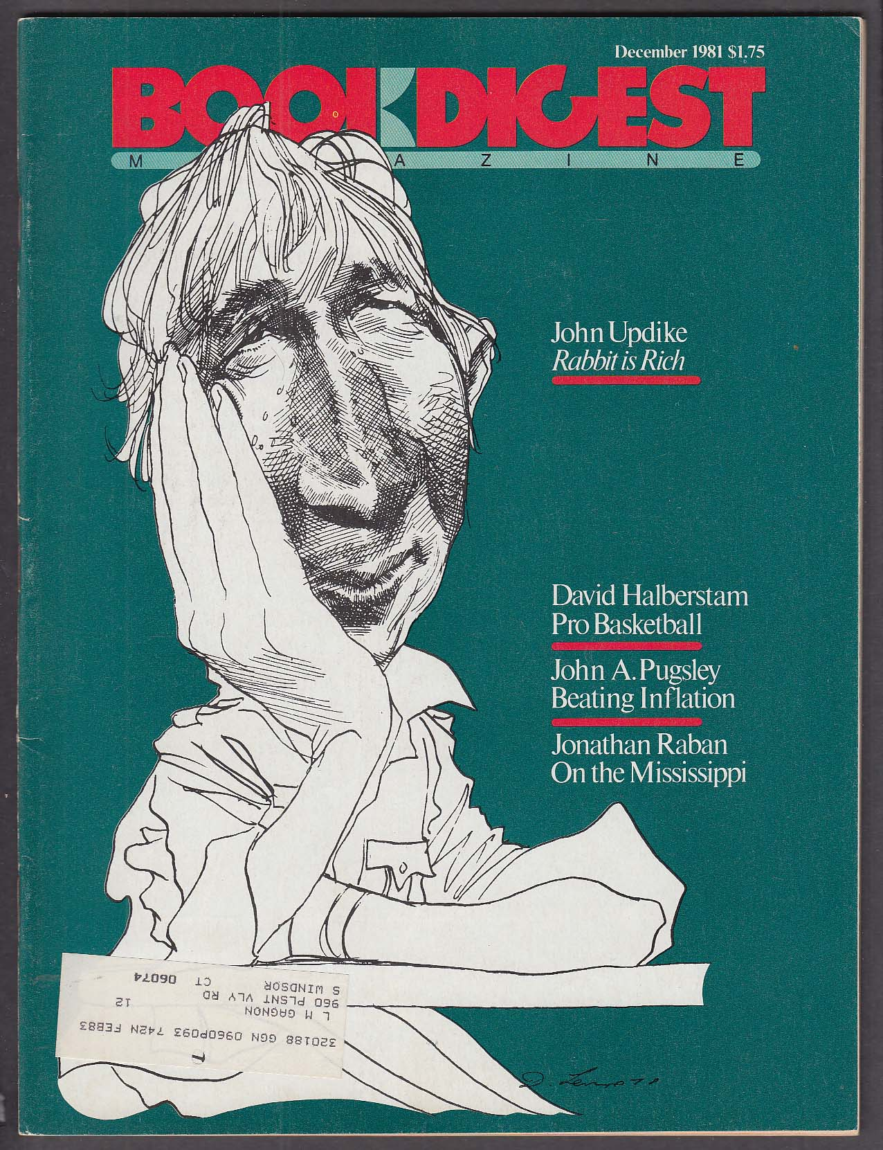 Image for BOOK DIGEST John Updike by David Levine Halberstam Pro Basketball 12 1981