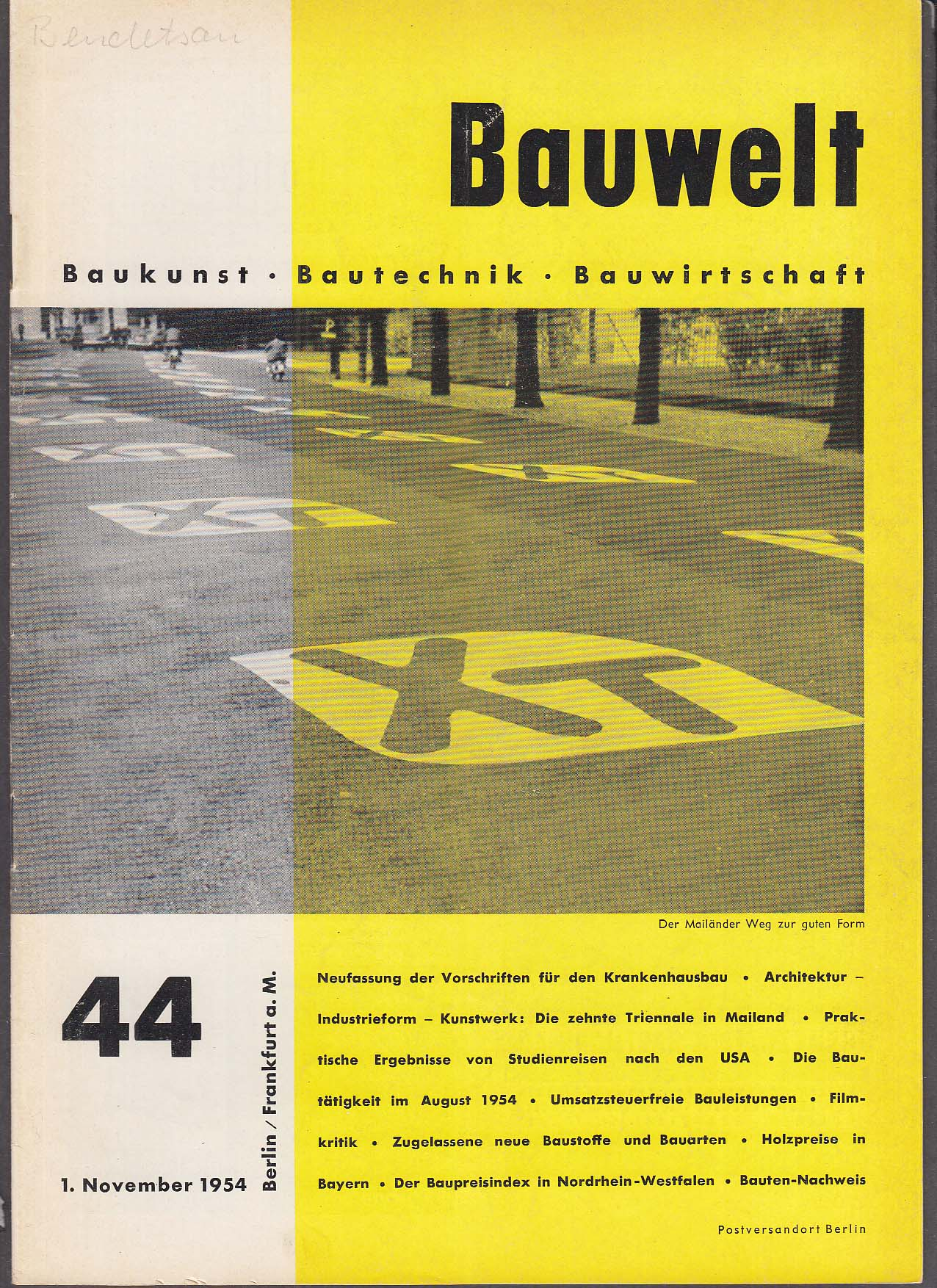 Image for Bauwelt #44 German architecture magazine 11/1 1954