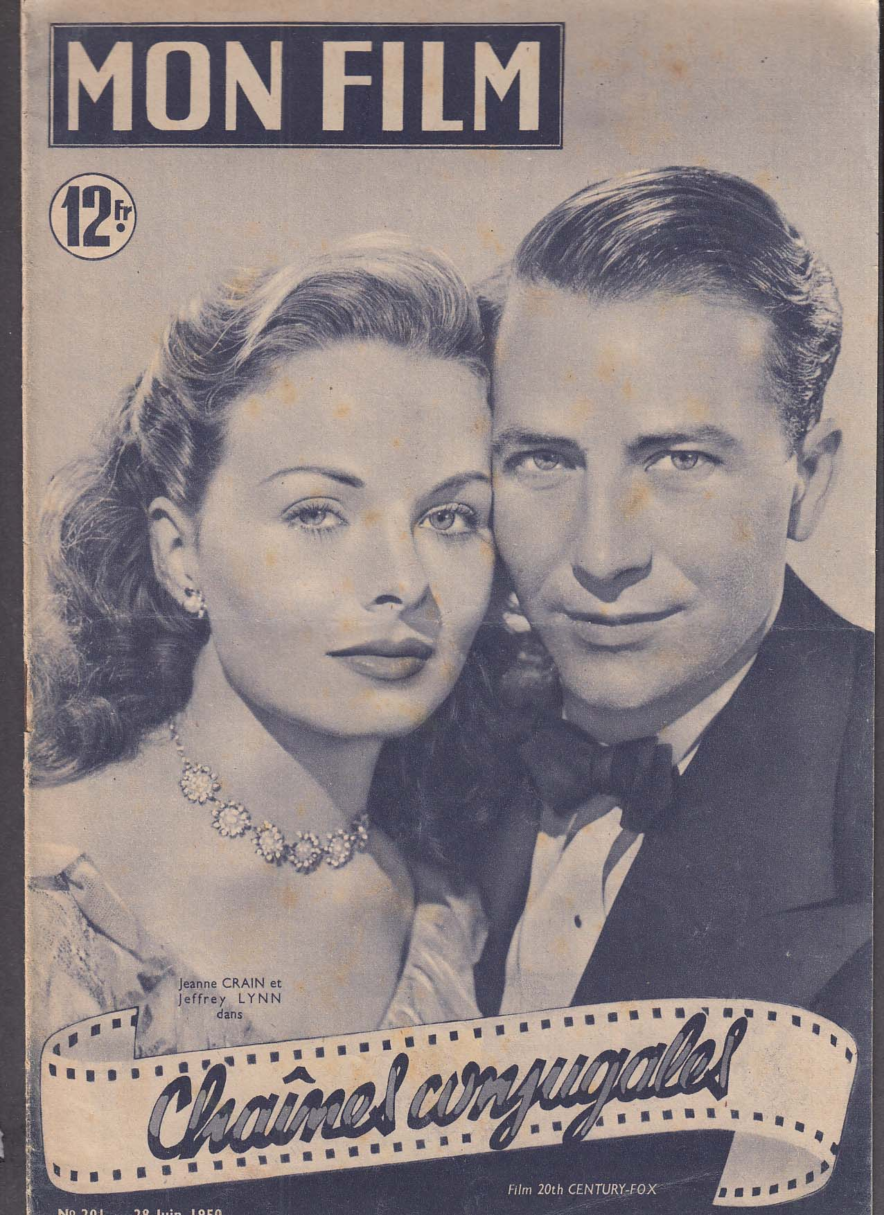 Image for MON FILM Jeanne Crain Kirk Douglas Letter to Three Wives 6/28 1950