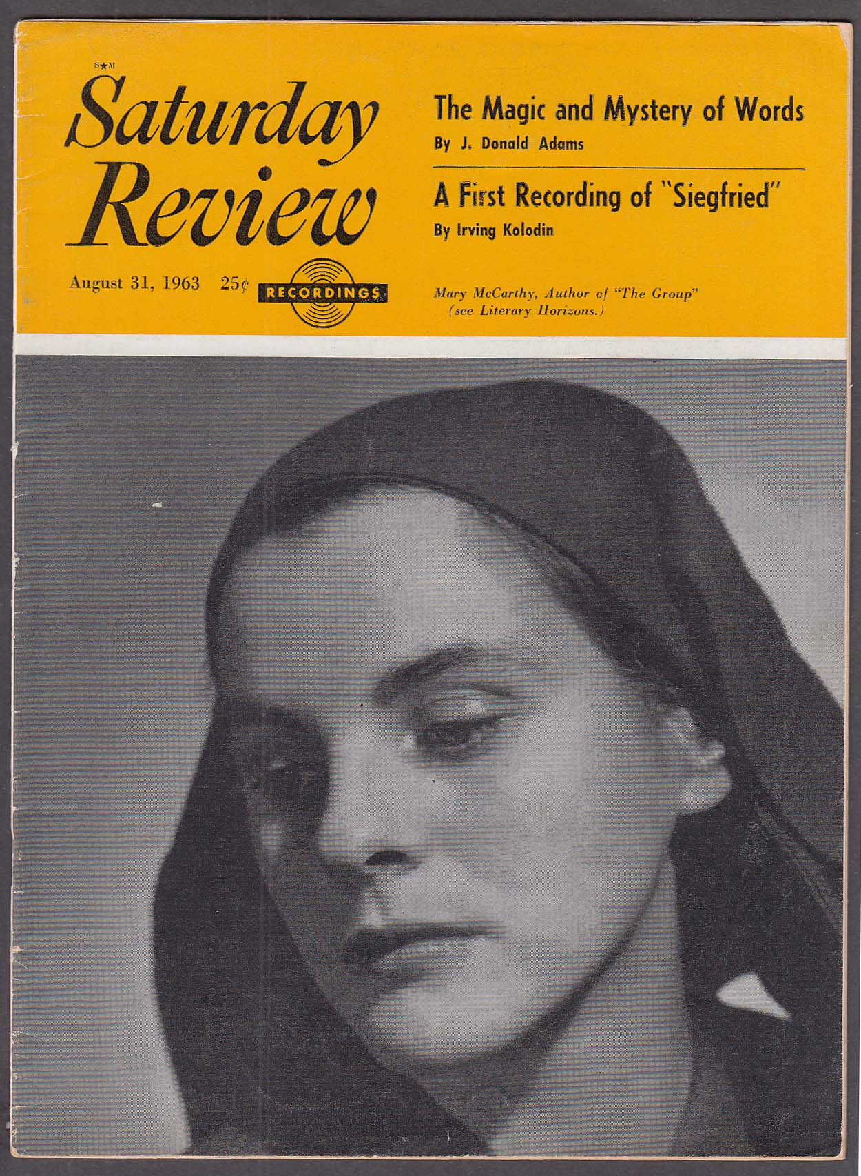 Image for SATURDAY REVIEW Mary McCarthy 8/31 1963