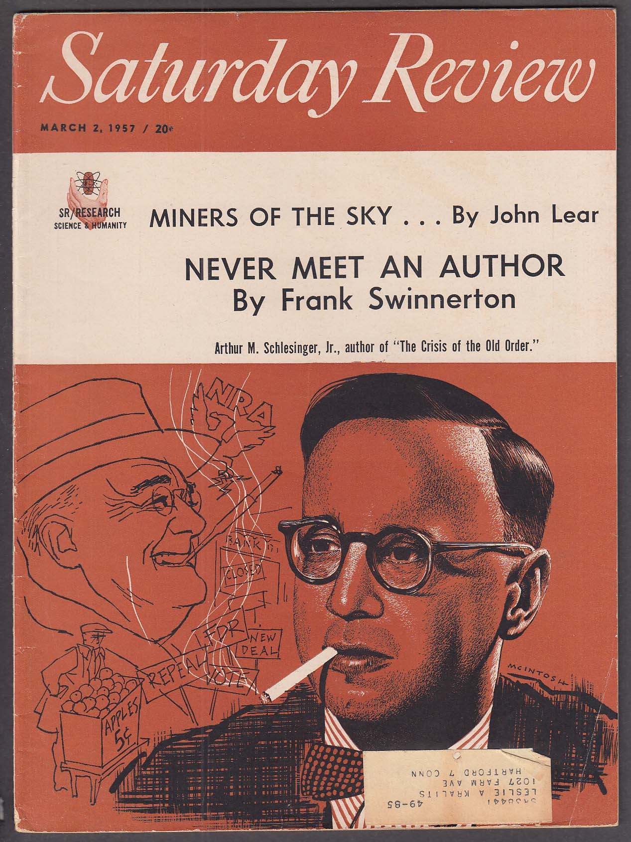 Image for SATURDAY REVIEW Arthur Schlesinger Crisis of the Old Order John Lear ++ 3/2 1957
