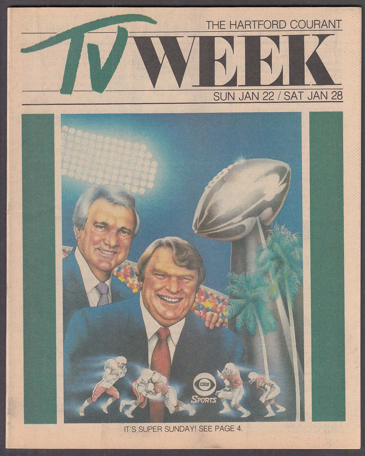 Image for TV WEEK Summerall Madden Super Bowl Hartford Courant 1/22 1984