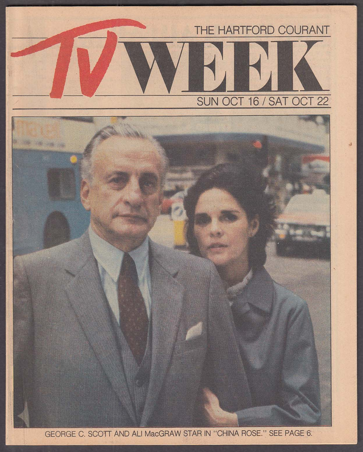 Image for TV WEEK George C Scott Ali MacGraw Hartford Courant 10/16 1983