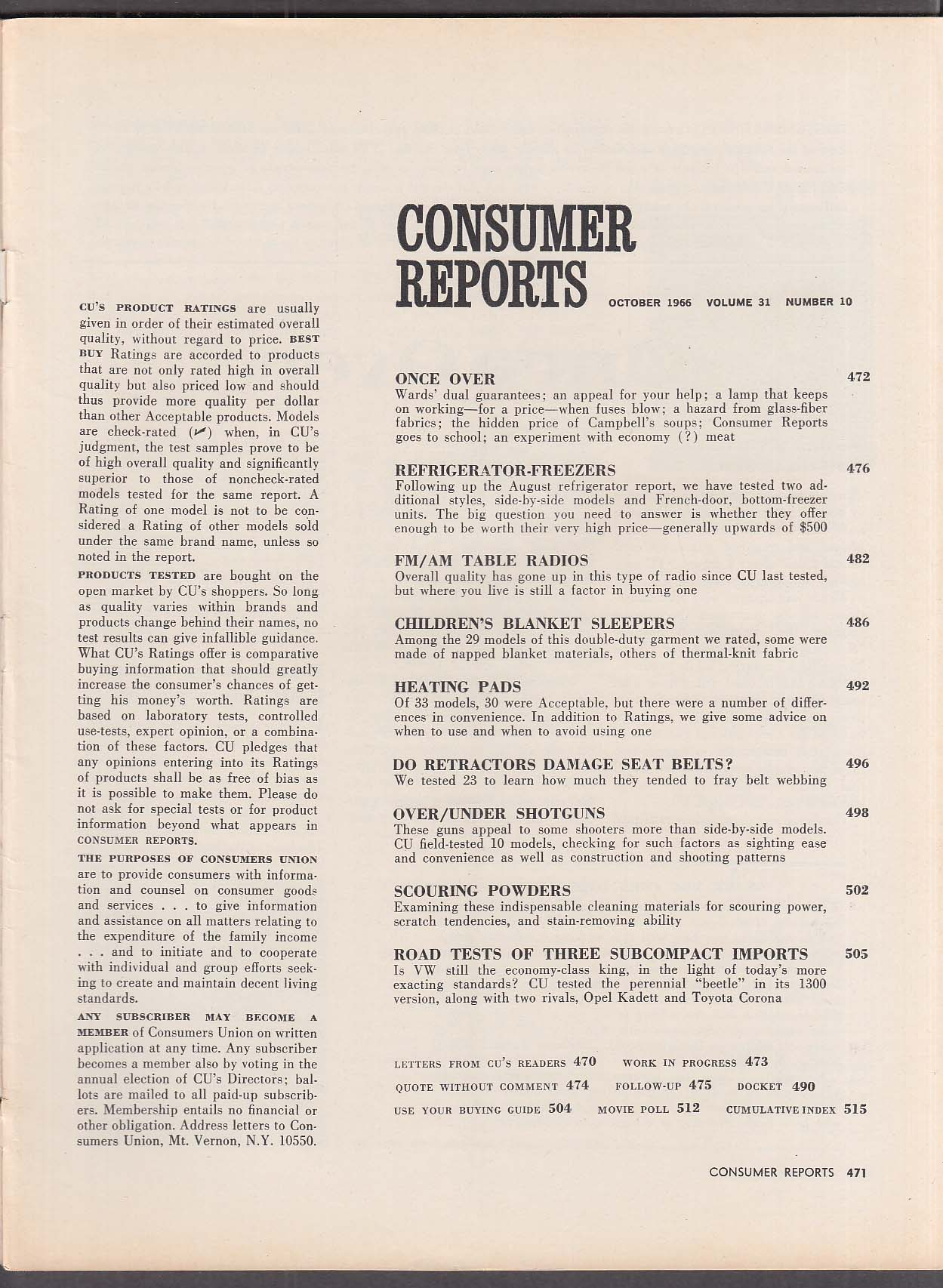 Image for CONSUMER REPORTS 1966 Opel Kadett Toyota Corona Volkswagen 1300 tests 10 1966
