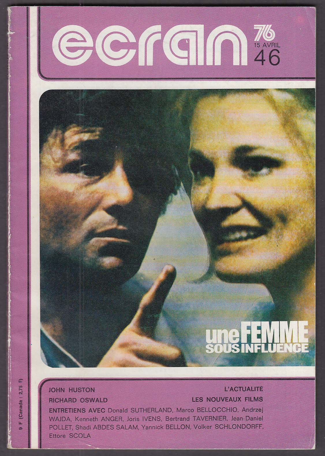 Image for ECRAN Peter Falk Gena Rowlands John Huston Richard Oswald ++ 4/15 1976