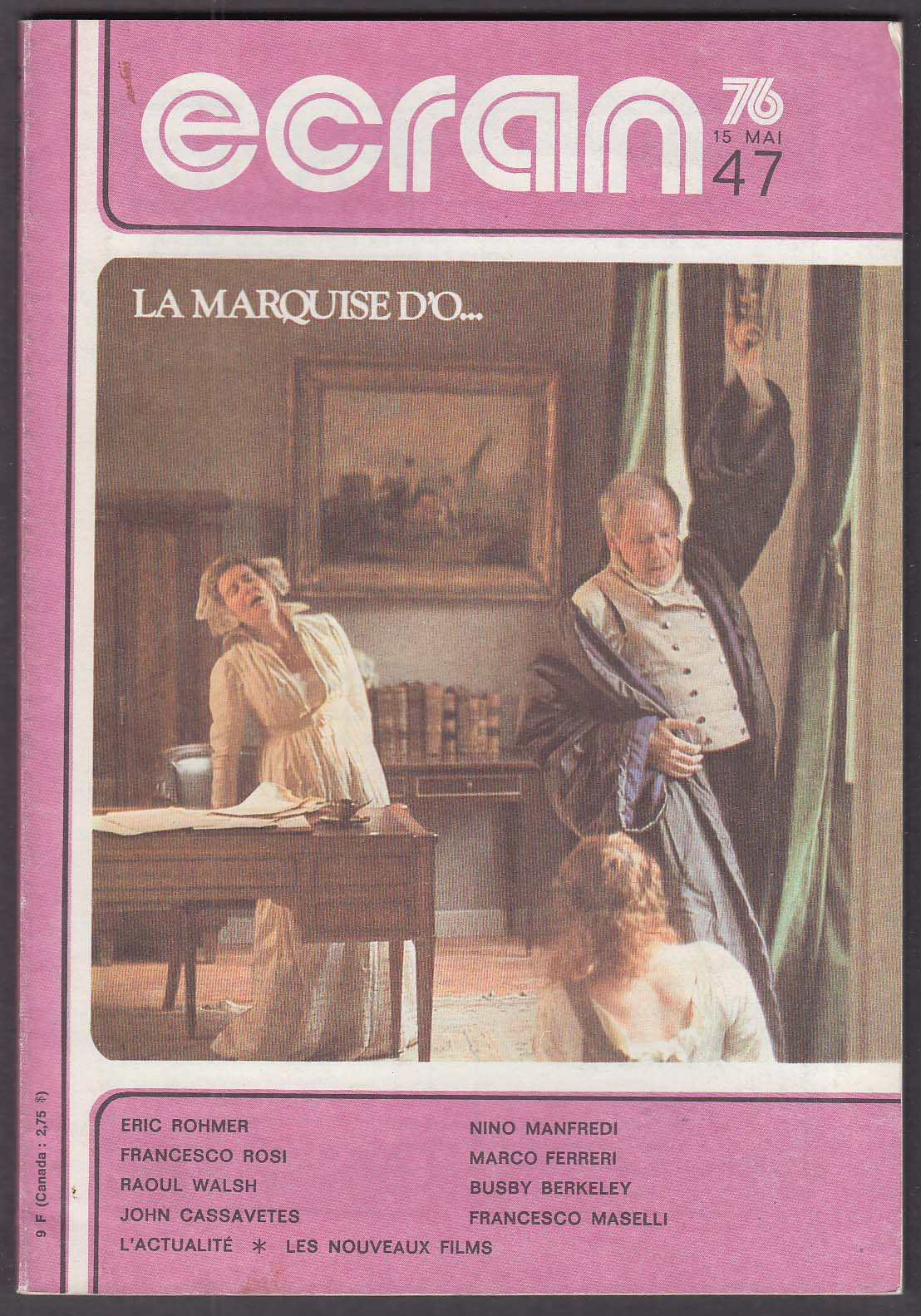 Image for ECRAN Eric Rohmer Cassavetes La Marquise D'O Busby Berkely Raoul Walsh 5/5 1976