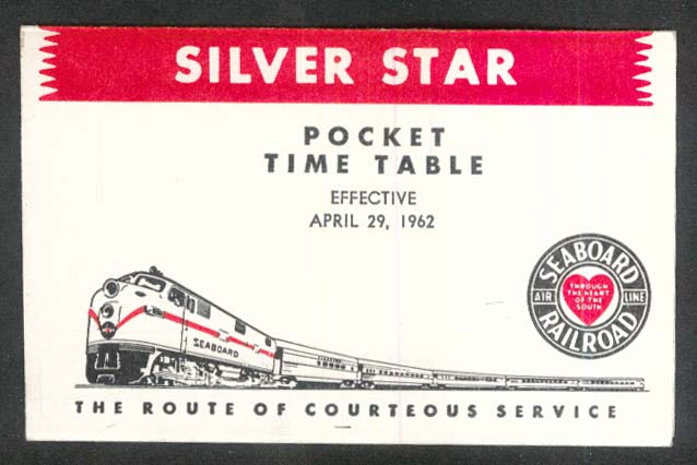 Image for 1962 Silver Star Seaboard RR pocket timetable