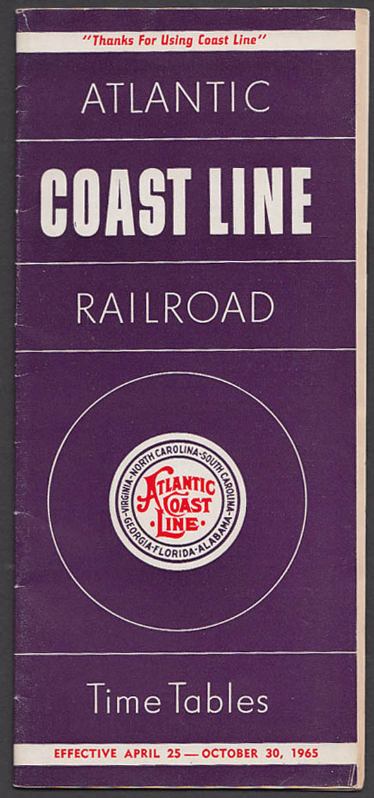 Image for Atlantic Coast Line RR Time Tables 4/25/65