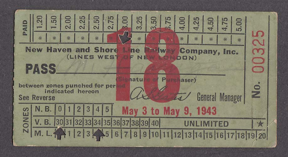 Image for New Haven Shore Line Railway Pass 1943