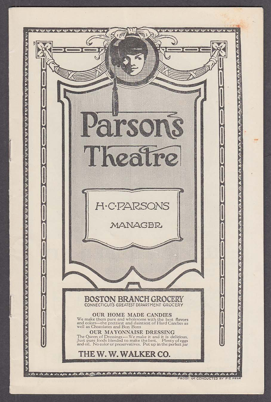 Image for Parsons Theatre program Hartford CT 1/30/1922