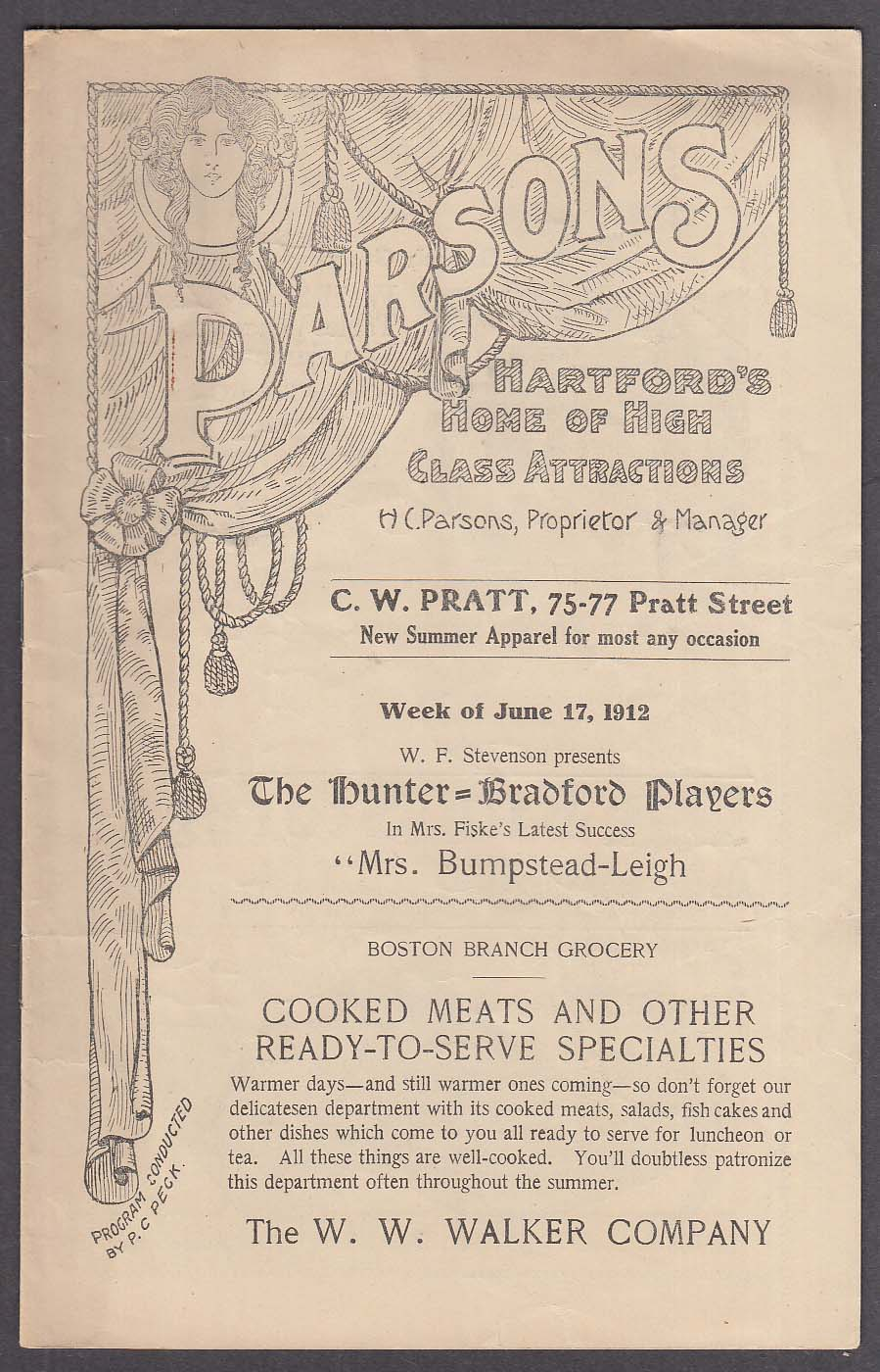 Image for Parsons Theatre Hartford CT program 6/17/1912